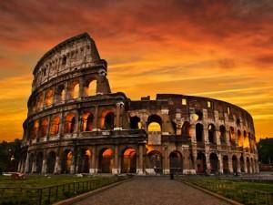 Sunrise at the colosseum (Flavian Amphitheatre); Rome